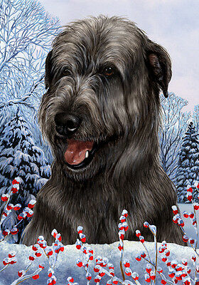 Large Indoor/Outdoor Winter Flag - Black Irish Wolfhound 15164