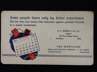 c1944 Ink Blotter Maryland Casualty Co., Baltimore MD Unused Vintage Advertising
