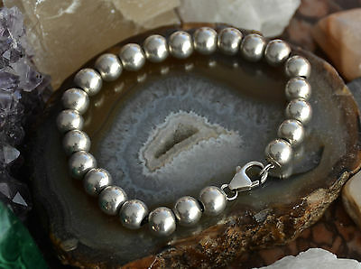 "Stylish Wire Threaded Bead Link 925 Sterling Solid Silver 7.50"" Bracelet"