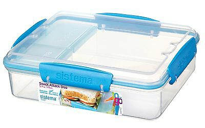 Sistema To Go Snack Attack Duo 975mL - Clear/Blue Lunch Box NEW