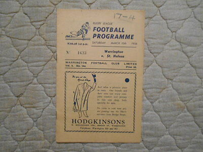 Warrington V St Helens Rugby League Match Programme March 1956