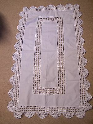 Lovely Antique And Lace Tablecloth For Side Table With Crocheted Edge