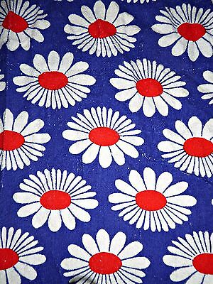 "Vintage 60S Bold Daisy Print Towelling Fabric Unused 28"" By 38"""