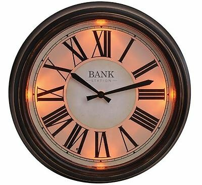 Bank Station Outdoor Garden Home Wall Clock with LED Light