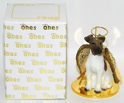 "Fox Terrier Dog Figurine Ornament Angel Miniature 2"" Tiny Ones 1996 Brown White"