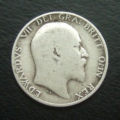 Gb 1906 Shilling : King Edward Vii Sterling Silver Coin #30