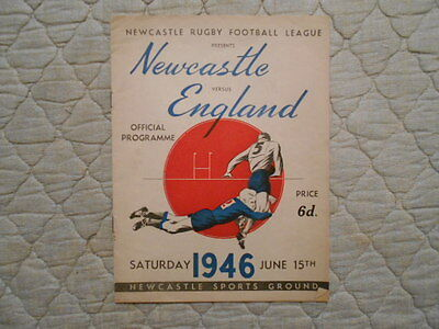 Newcastle V England Rugby League Match Programme June 1946