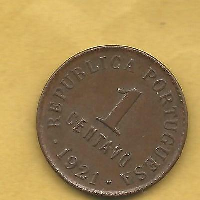 Portugal One Centavos 1921  Scarce  Coin
