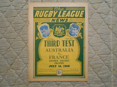 Australia V France Rugby League 3Rd Test Match Programme July 1960