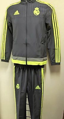 Real Madrid Grey/lime  Presentation Suit By Adidas Size Boys 15/16 Years  New