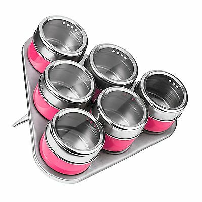 Premier Housewares Magnetic Tray with 6 Spice Jars - Hot Pink NEW