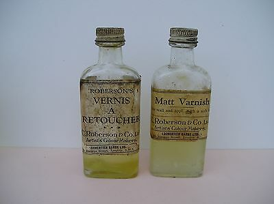 2 C.1920 Antique Bottles C.ROBERSON & CO Artists Oil Picture Varnish, half full