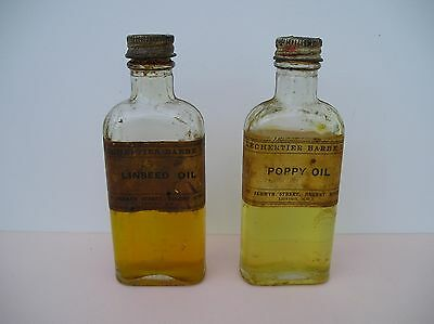 2 C.1920 Old Bottles LECHERTIER BARBE Artists Poppy, Linseed Oil Painting Medium