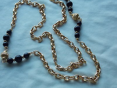 Gorgeous Heavy Long Vintage Bright Gold Plated & Black Glass Beaded Necklace