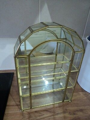 Vintage brass and glass mirror backed curio cabinet arched top