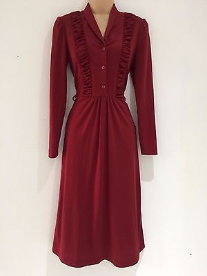 Vintage 70's Dark Red Maroon Ruched Bodice 40's Style Long Sleeve Dress 8-10