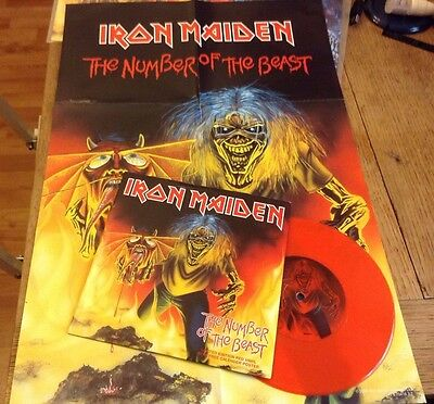 "IRON MAIDEN   Number Of The Beast Rare UK Record - Red Vinyl 7"" SINGLE + Poster"