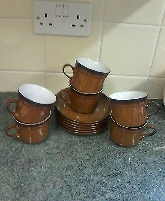 Denby Provence Cups And Saucers X 6 Excellent