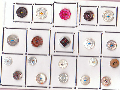 MOTHER OF PEARL 20 CARDED  buttons OF  SMALL FANCY BUTTONS mounted