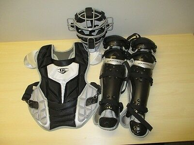Louisville Slugger Series 7 Adult Catcher's Gear Set Black Grey Traditional Mask