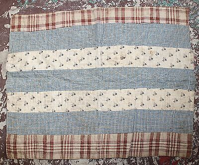 Antique 19th Century Patchwork Stamp Calico Doll Quilt