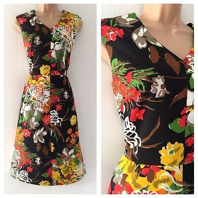 Vintage 70's Black Green Yellow Floral Print Sleeveless Occasion Dress Size 12