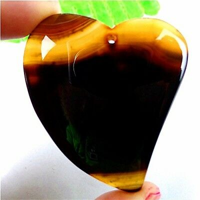 Delicate Black&Brown Stripes Onyx Agate Heart Pendant Bead 53*47*6mm AT102828