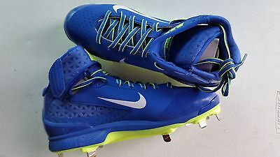 New Nike Huarache Pro Mid Mens 10 Baseball Metal Cleats Royal/Wht-Volt