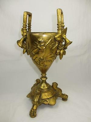 Superb Antique 19Th C French Dore Bronze Ormolu Twin Handel Vase Cherub & Lily