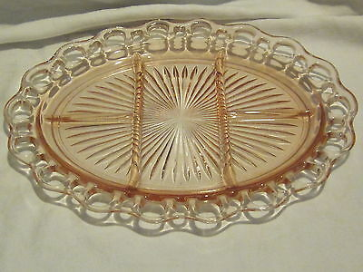 Hocking Glass Old Colony Pink 5 Part Platters (2)