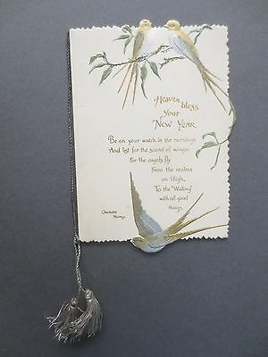 ANTIQUE New Year Greetings Card Diecut Embossed  Glitter Birds in Tree C Murray