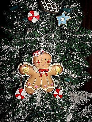 Gingerbread Girl With Peppermint Candy & Stars Christmas Ornament