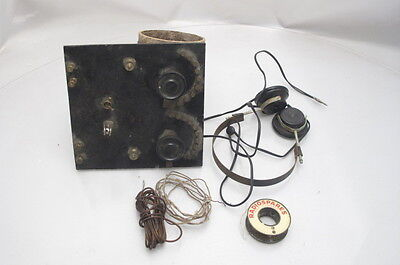 Vintage Homemade Radio Set Cats Whisker Headphones