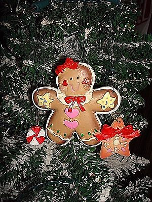 Gingerbread Girl With Peppermint & Star Cookie Christmas Ornament