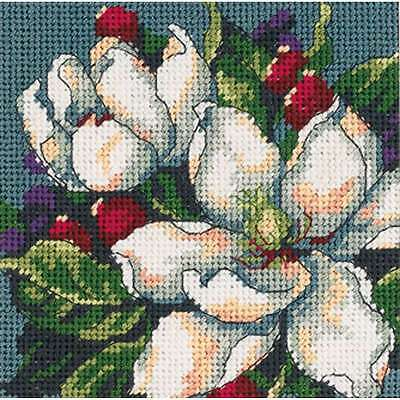 Magnolia Mini Needlepoint Kit-5 Inch X 5 Inch Stitched In Floss 088677072179