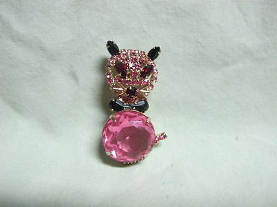 Vintage Goldtone Black & Red  Rhinestone w/ Pink Jelly Belly Cat  Brooch Pin