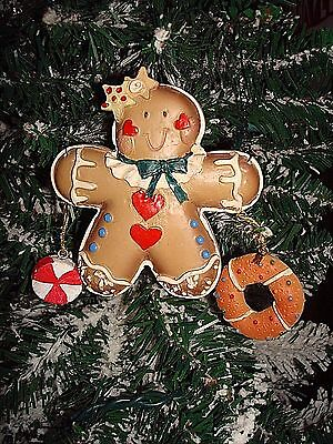 Gingerbread Girl With Peppermint & Cookie Christmas Ornament