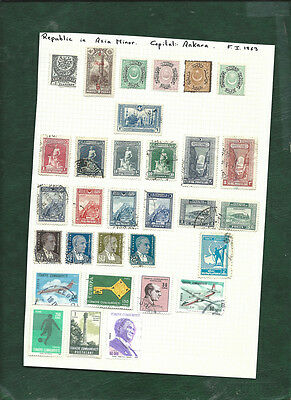 Turkey and Ottoman Empire MH and used old stamps on page