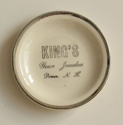 King's Jeweler Jewelry Dover New Hampshire Butter Pat China Dish Advertising NH