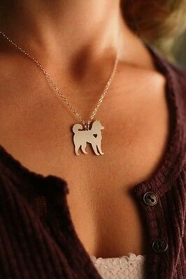 Alaskan malamute siberian husky heart pendant necklace dog collectible No.82E