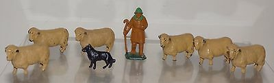 Dinky Toys Shepherd with sheepdog and flock. All VGC. Post WW2.