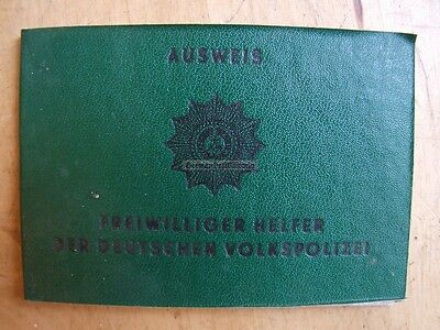 pc3) East German Helper of the Volkspolizei VP Police ID Book GDR DDR Cold War