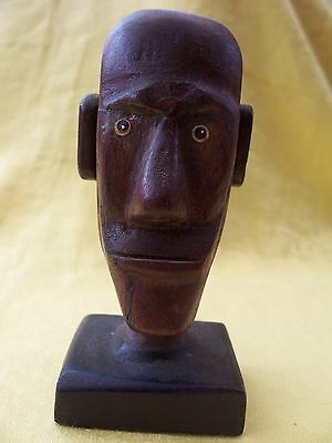 Carved wooden Easter Island head