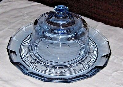 "Vintage Sapphire BLue Depression Pansy Covered Cheese Dome with 12"" Tray"