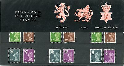 Royal Mail Presentation Pack Definitive Stamps Scotland , Wales , Northern Irela