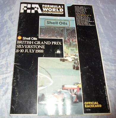 Original 1988 Silverstone British Grand Prix Motor Race Official Racecard