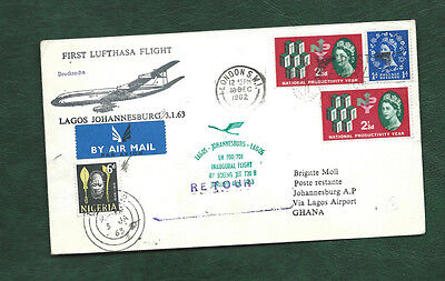 GB 1962 interesting 1st Flight Cover Lufthansa Lagos Johannesburg pmk London