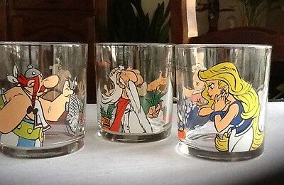 Asterix /lot De 3 Verres Nutella 1999 /uderzo Goscinny