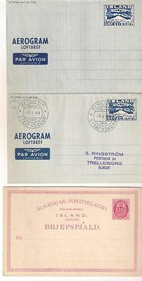 26318 ICELAND postal stationery incl 2 aerogrammes (3 items)