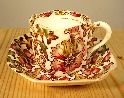Small Octagonal 1886 Art Nouveau Floral Coffee Cup & Saucer